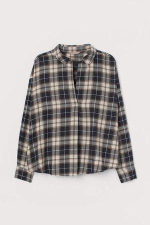 H&M+ Cotton Flannel Shirt - Beige