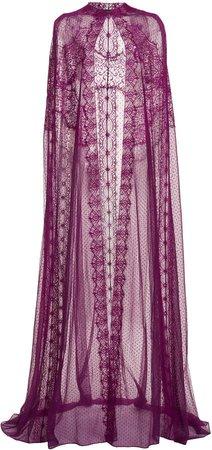 Zuhair Murad Lace-Trimmed Silk-Chiffon Cape