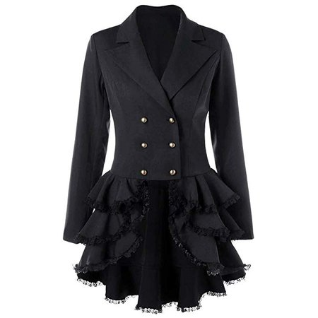 Womens Gothic Steampunk Tail Vamp Long Victorian Tailcoat Waterfall Waistcoat Jacket Outwear Top: Clothing
