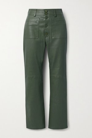 Marston Leather Straight-leg Pants - Army green