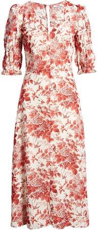 Larchmont Floral Midi Dress