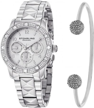 Stuhrling Original Women's Silver Dial Stainless Steel Band Watch & Bracelet Set - SET_697.01_B2S | Souq - UAE