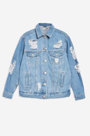 Ripped Oversized Denim Jacket - Jackets & Coats - Clothing - Topshop