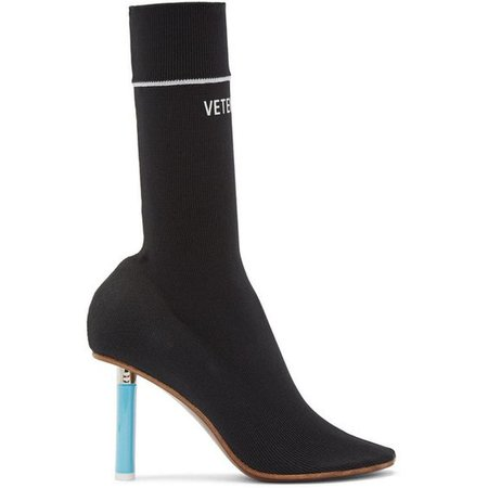 Vetements Black Logo Ankle Sock Boots