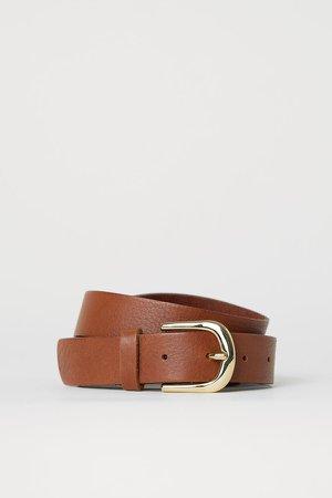 Leather Belt - Beige