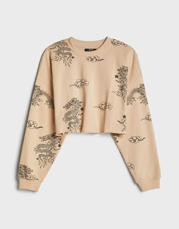 Cropped sweatshirt - Sweatshirts and Hoodies - Woman | Bershka