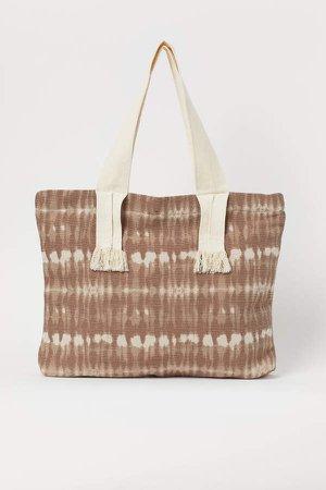 Batik-patterned Shopper - Beige