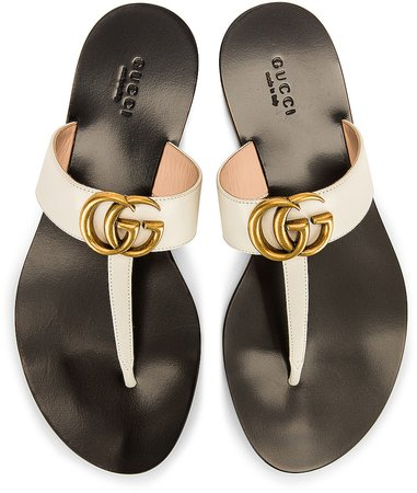Double G Leather Thong Sandals in Mystic White | FWRD