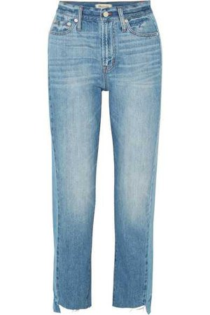 Madewell | The Perfect Summer frayed high-rise straight-leg jeans | NET-A-PORTER.COM