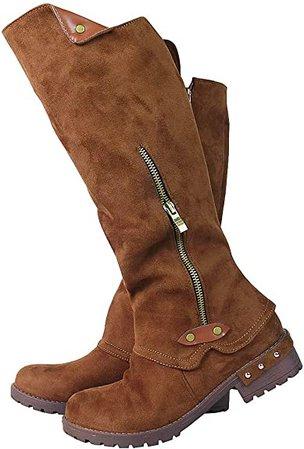 Amazon.com   Vimisaoi Knee High Boots for Women, Zipper Low Chunky Heel Combat Motorcycle Boots   Knee-High
