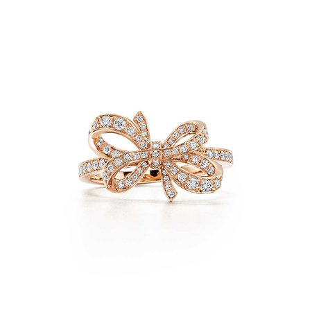 Tiffany Bow ribbon ring in 18k rose gold with round brilliant diamonds. | Tiffany & Co.