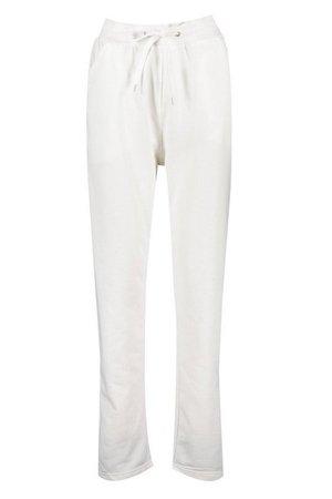Tie Waist Straight Leg Jogger | boohoo white