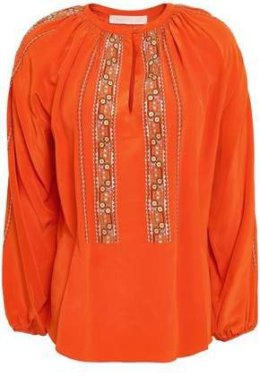Gathered Embroidered Silk Blouse