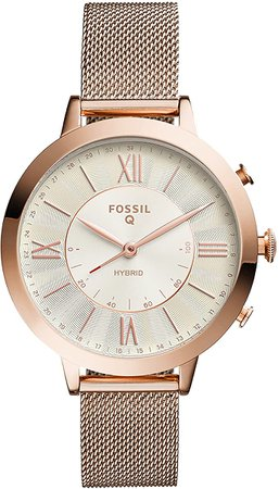 Amazon.com: Fossil Women's 36MM Jacqueline Stainless Steel and Leather Hybrid Smart Watch, Color: Rose Gold/blue (Model: FTW5014): Watches
