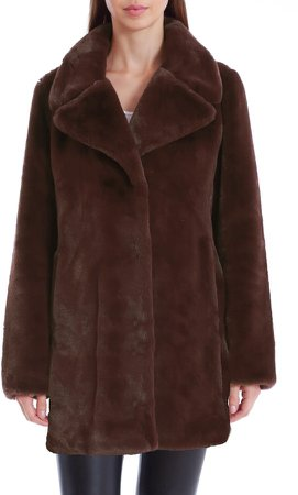 Faux Fur Notched Collar Coat