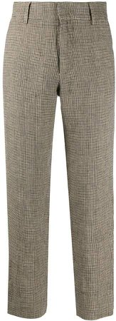 Cropped Checked Print Trousers