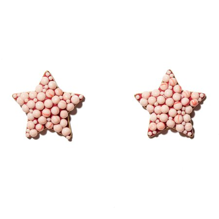 CORAL JEWELED STAR BUTTON EARRINGS - Lele Sadoughi