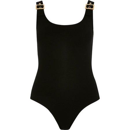 Black buckle strap bodysuit | River Island