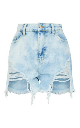 Blue Tie Dye Mom Denim Shorts | PrettyLittleThing USA