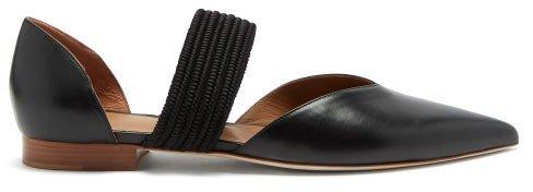 Maisie Point-toe Leather Pumps - Black