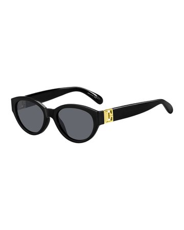 Givenchy Oval Acetate Sunglasses w/ Metal Logo Hinges | Neiman Marcus