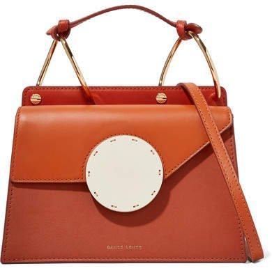 Phoebe Bis Color-block Leather Shoulder Bag - Orange