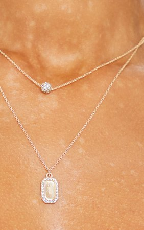 Gold Diamante Tag And Ball Charm Layering Necklace   PrettyLittleThing