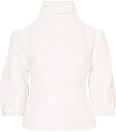 Cushnie - Cold-shoulder Open-back Crepe Top - White
