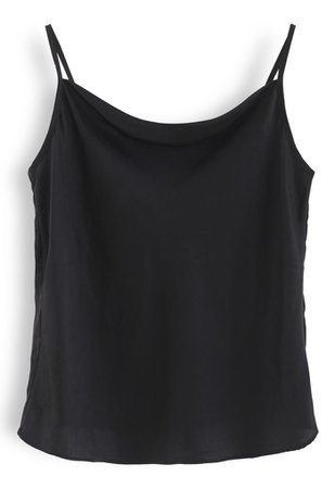 Cowl Neck Satin Cami Top in Black - Retro, Indie and Unique Fashion