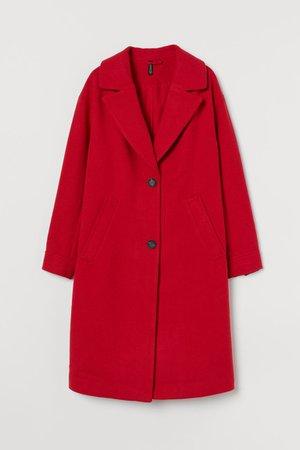 Wool-blend Coat - Red - Ladies   H&M US