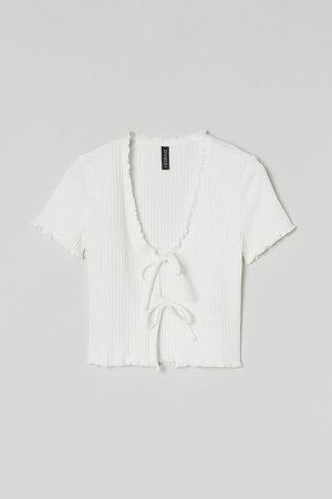 Tie-front Ribbed Top - White
