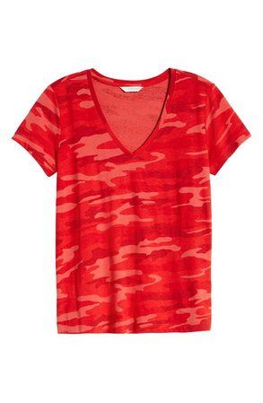 Lucky Brand Camo Print V-Neck Top red