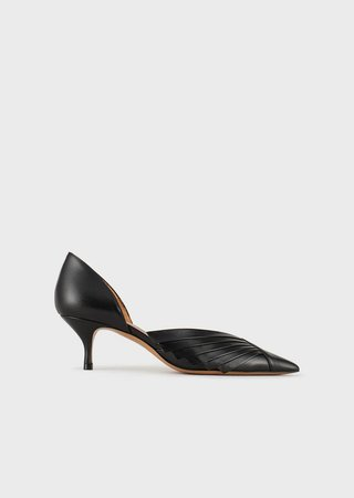 Leather Court Shoes With Pleated Details