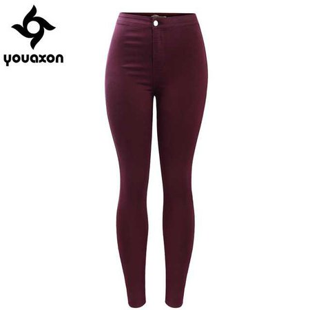 2035 Youaxon Women`s Free Shipping Burgundy Elastic Denim Jean Pants Trousers Skinny Pencil High Waisted Woman Jeans Femme-in Jeans from Women's Clothing & Accessories on Aliexpress.com | Alibaba Group