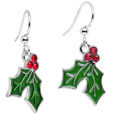 "Handcrafted Silver Plated Green Holiday Holly Dangle Earrings Created with Swarovski Crystals 1"": Jewelry"