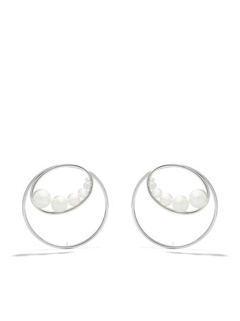 Shop TASAKI 18kt white gold Nacreous Akoya and South Sea pearl earrings with Express Delivery - FARFETCH