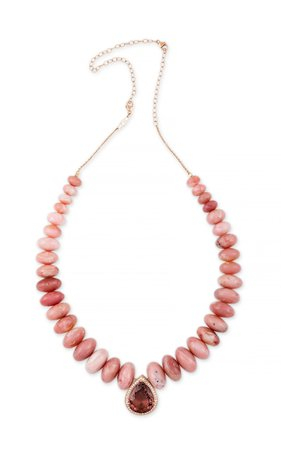 14K Rose Gold Pink Tourmaline Teardrop and Pink Opal Graduated Beaded Necklace by Jacquie Aiche | Moda Operandi