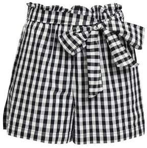Belted Gingham Cotton-poplin Shorts
