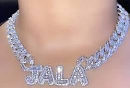 diamond name necklace baddie - Google Search
