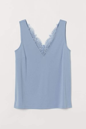 Sleeveless Lace-detail Top - Blue