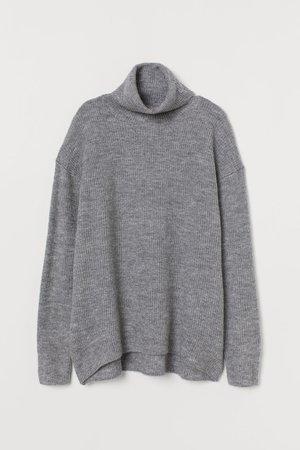 Knit Turtleneck Sweater - Gray melange - | H&M US
