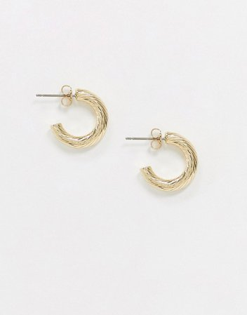Pieces mini hoop earrings in hammered gold | ASOS