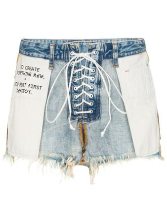 Unravel Project Distressed Reverse Lace Up Denim Shorts UWYC011R20DEN0014501 Blue | Farfetch