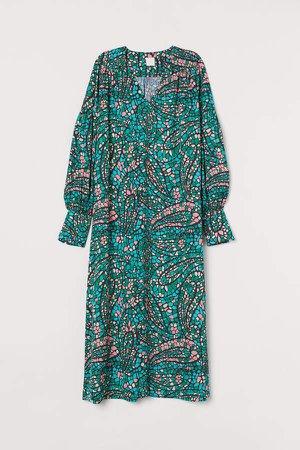 Balloon-sleeved satin dress - Turquoise