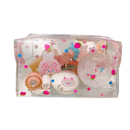 Cartoon Bear Girl Makeup Bag Transparent Women Cosmetic Bag PVC Beauty Makeup Kit Travel Toiletry Organizer Zipper Case Holder| - AliExpress