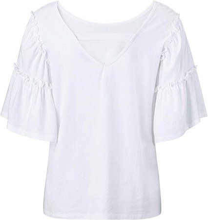 ellos Women's Plus Size Ruffle Bell Sleeve Top - 18/20, White at Amazon Women's Clothing store