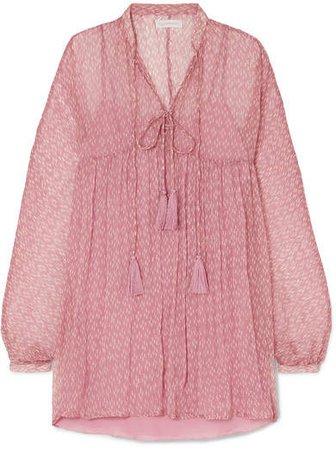 Cloe Cassandro - Tessa Printed Silk-crepon Mini Dress - Pink
