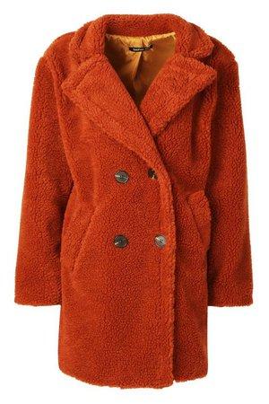 Faux Fur Double Breasted Coat   Boohoo rust