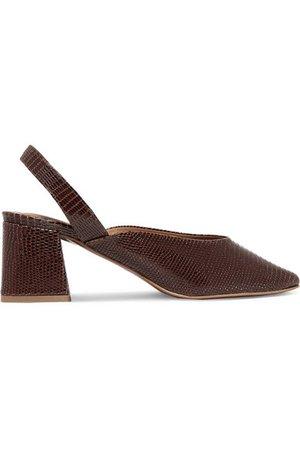 BY FAR | Lisa lizard-effect leather slingback pumps | NET-A-PORTER.COM