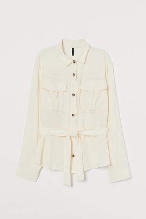 Utility Shirt with Tie Belt - White